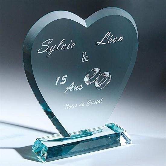 4054 Üveg Díj szív alakú